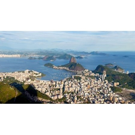 High angle view of the city with Sugarloaf Mountain in background Guanabara Bay Rio De Janeiro Brazil Stretched Canvas - Panoramic Images (24 x 14)