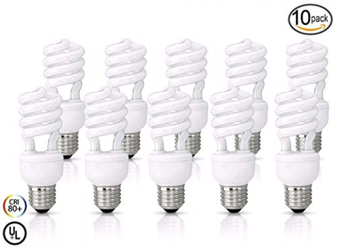 (10 Pack) 11 Watt Compact Fluorescent Light, Warm White 2700K, Super Mini Spiral Medium... by Circle