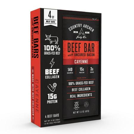 - Country Archer Jerky Co. Beef Bar, Cayenne, 1.5oz, 4pk