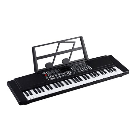 61-Key Beginner Electronic Piano Keyboard w/ LCD Display and Microphone - Portable - Black Beethoven Keyboard Piano