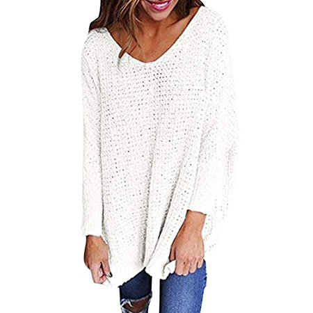 Womens Sweaters Oversized V Neck Loose Knit Pullover Long Batwing Sleeve Tops