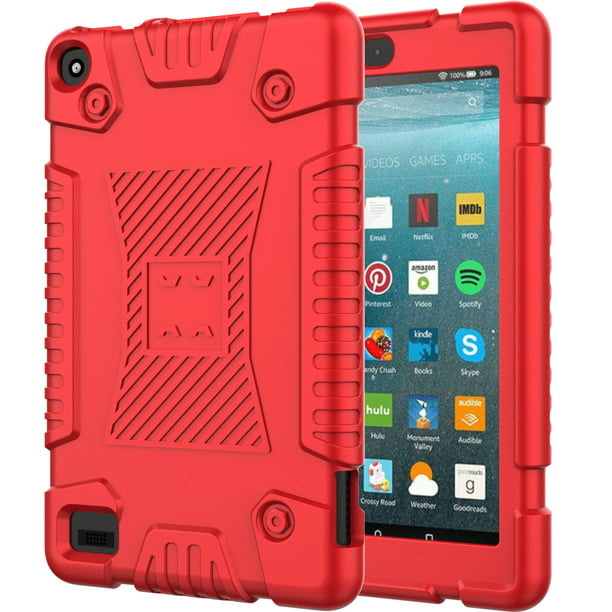 Fire 7 Case 2019 New Kindle Fire 7 9th Generation Cases Covers Allytech Soft Silicone Rugged Shockproof Kids Friendly Drop Proof Anti Slip Case Cover For All New Amazon Fire 7 2019 Red