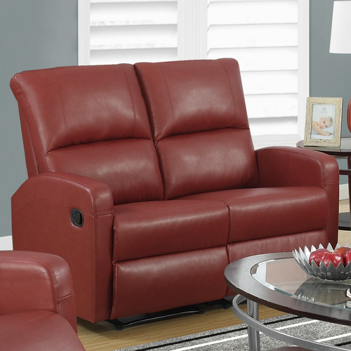 Monarch Specialties I 84-2 50 Inch Wide Metal Framed Leather Loveseat Glider Rec