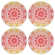 CARIBOU Drink Round Fabric Felt Neoprene Coasters Set of 4pcs, Red Orange Mandala