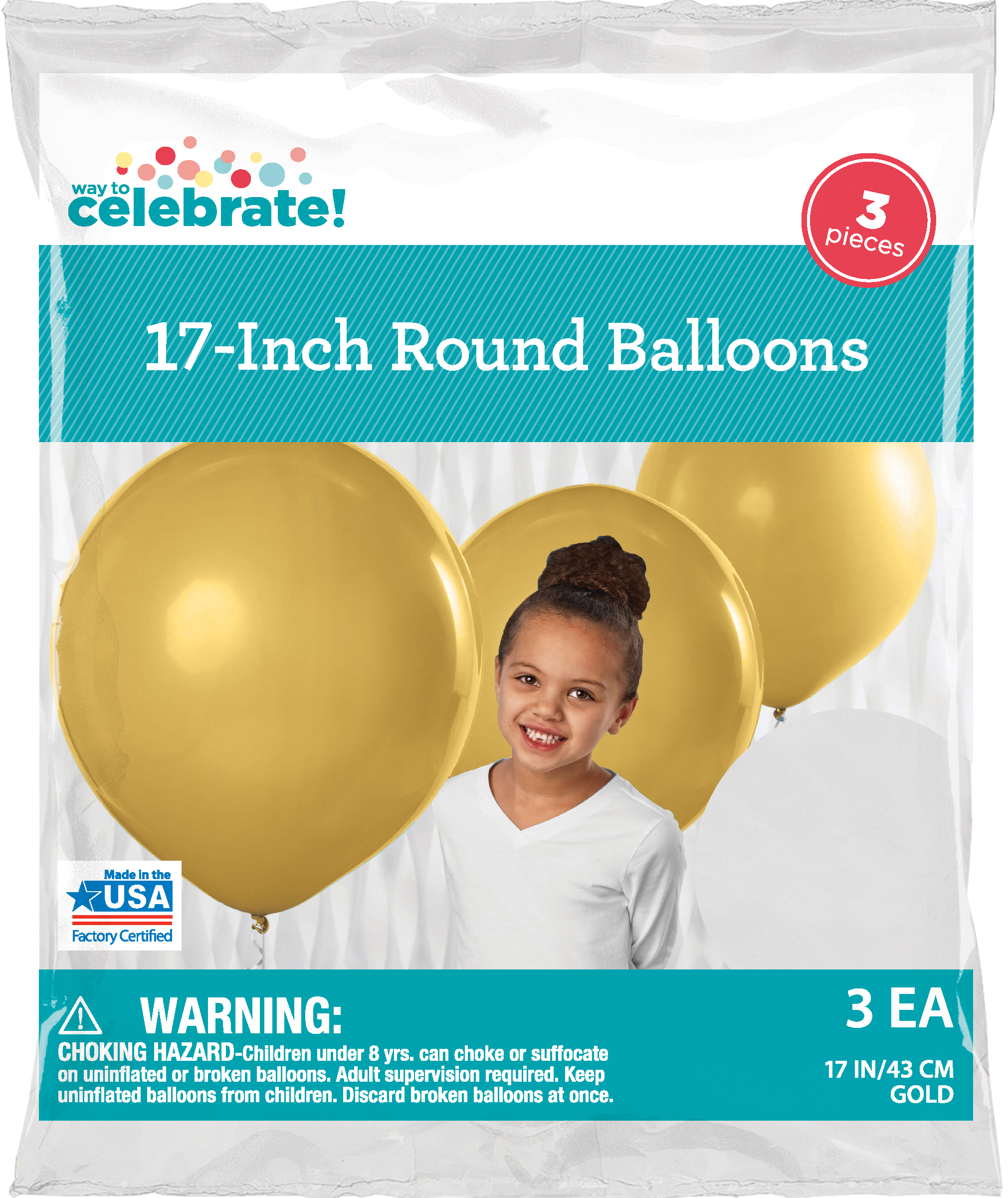 Way To Celebrate Latex Balloons 17 Gold 3 Count Bag Walmartcom