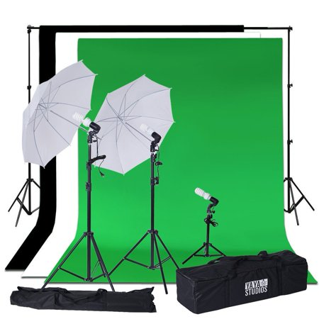 BalsaCircle Photography Video Studio Umbrellas Continuous Lighting Kit with Backdrops - Portarit Photo Shooting Production Equipment
