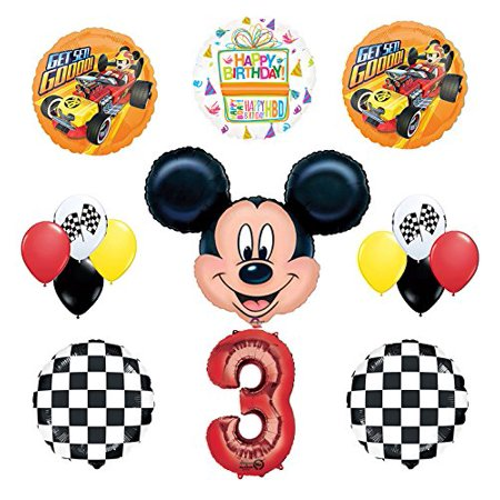 Mickey Mouse 3rd Birthday Party Supplies and Mickey Roadster Balloon Bouquet Decorations - Mickey Mouse Balloon Decorations