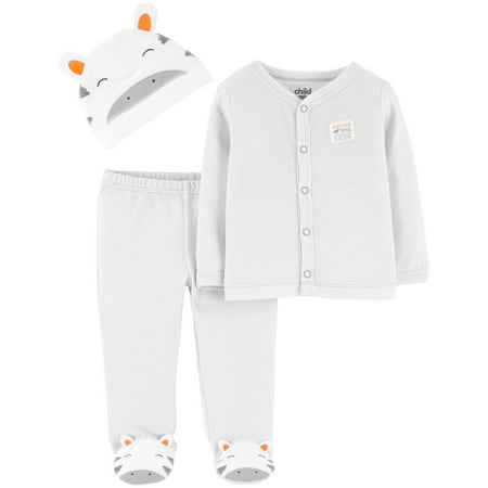 Child Of Mine By Carter's Cardigan, Footed Pants & Cap Baby Shower Gift Set, 3pc (Baby Boy or Baby Girl, Unisex)