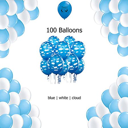 Cloud Airplane  Party Supplies Balloon Decoration - Blue, White and Cloud Latex Balloon 100 count