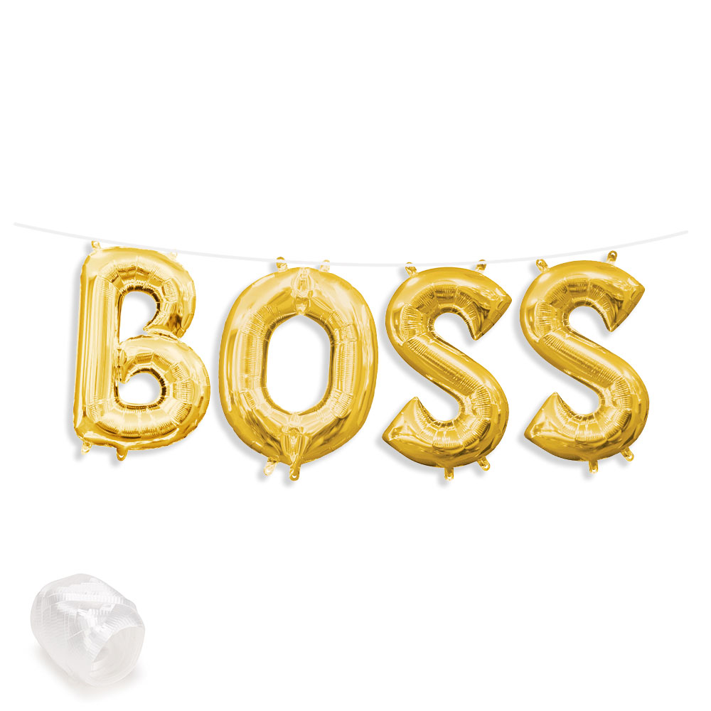 "Air-Fillable 13"" Gold Letter Balloon Kit ""BOSS"" Party Supplies"