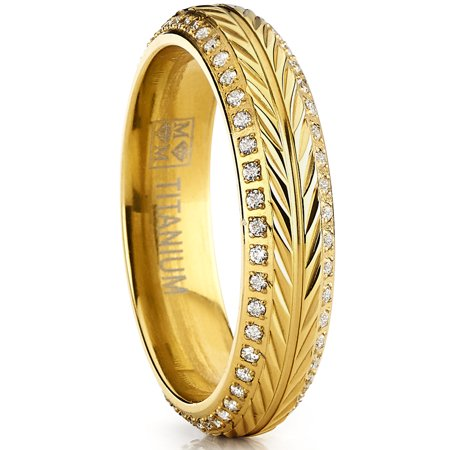 Titanium Double Willow (Goldtone Titanium Ring, Crested with Wheat Stem Engraving, Double Row Eternity Band with Cubic Zirconia )