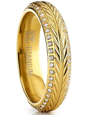 Goldtone Titanium Ring, Crested with Wheat Stem Engraving, Double Row Eternity Band with Cubic Zirconia
