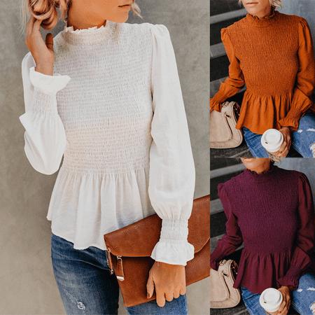 Spring Autumn Womens Chiffon Loose Casual Shirt Ladies Long Sleeve Tops Blouse