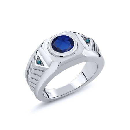 2.53 Ct Round Blue Simulated Sapphire Blue Diamond 925 Silver Men's Ring (Blue Blue Sapphire Diamond)
