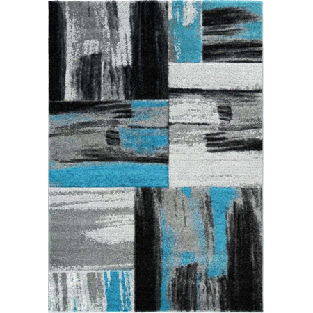 Ladole Rugs Moda Collection Copper Abstract Made in Europe Area Rug Carpet in Turquoise Blue Black Grey, 3'9