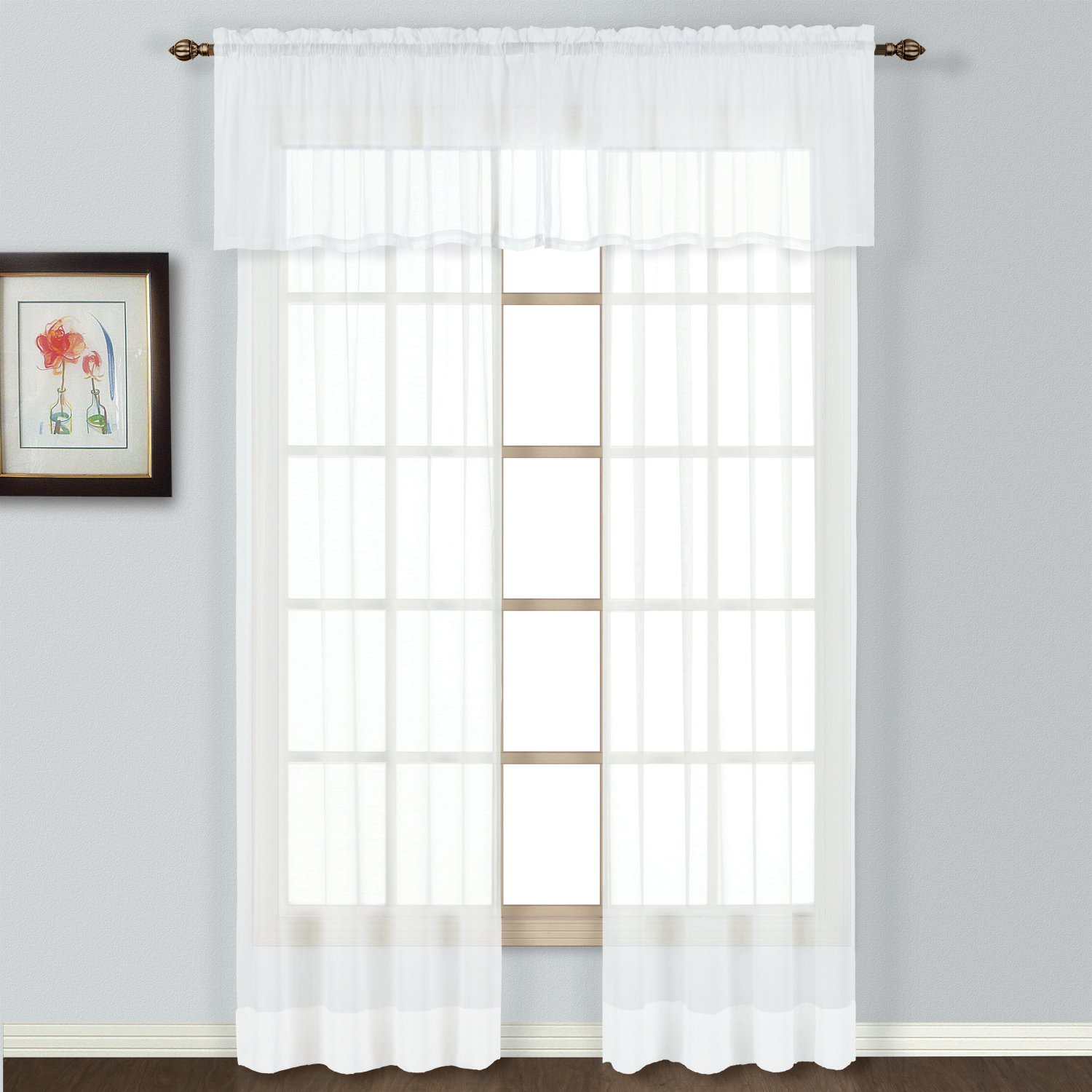 American Curtain and Home Semi-Sheer Window Treatment Valance, 54-Inch by 16-Inch, White by