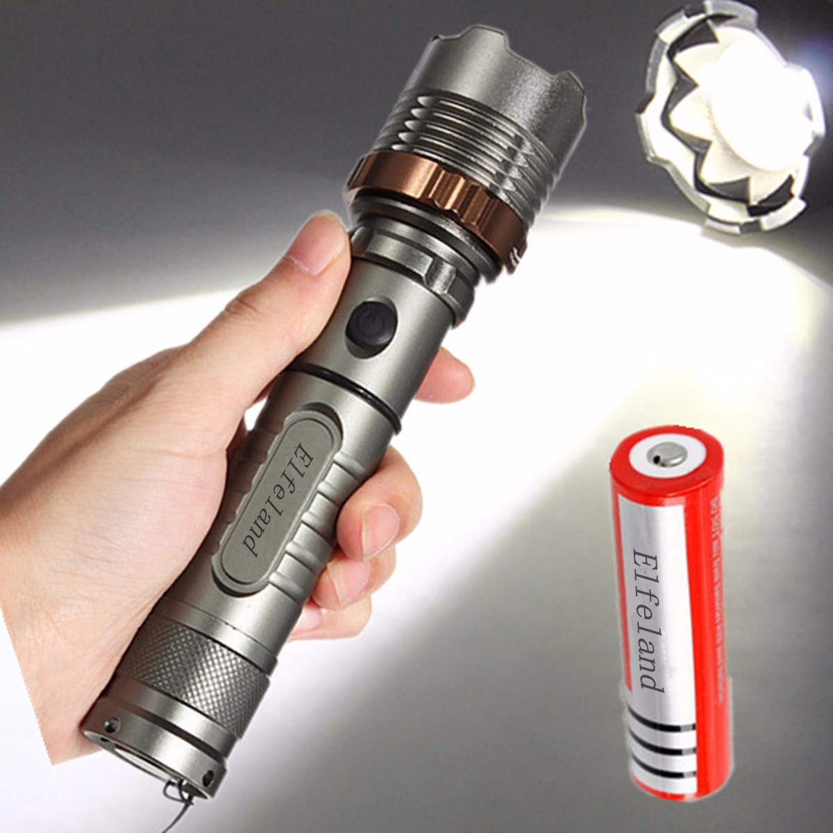 2600 Lumens T6 LED Flashlight Zoomable Focus Torch Lamp Super Bright + 18650 Rechargeable Battery for Camping Hiking Cycling