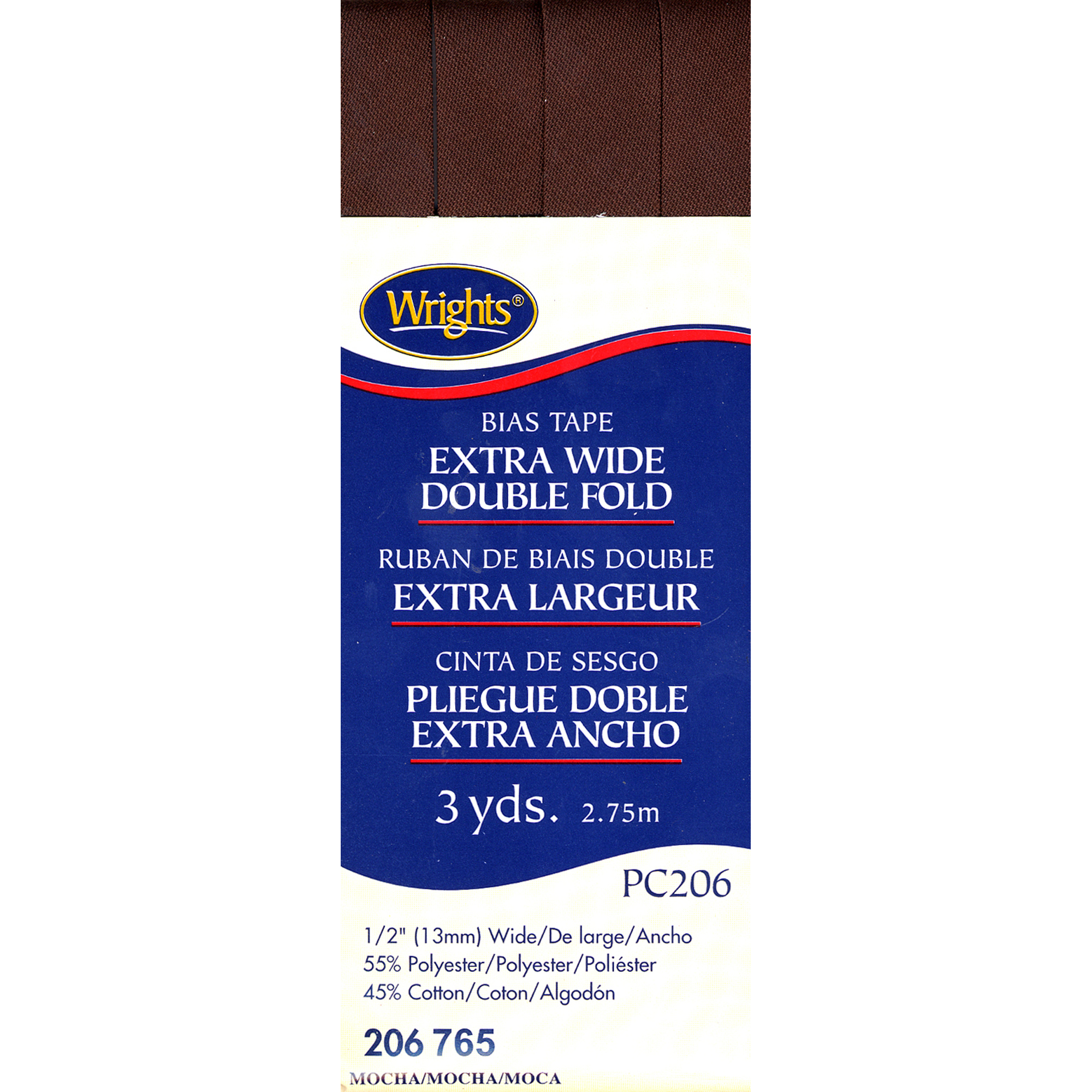 "Wrights Double Fold Bias Tape 1/2""X3yd-Mocha"