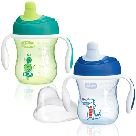 Chicco Semi-Soft Spout No Spill Trainer Sippy Cup 6M+, 7oz Blue/Green 2-Pack