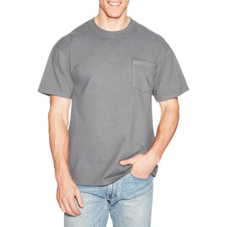 Hanes men 39 s beefy short sleeve t shirt with pocket for Hanes beefy t custom shirts