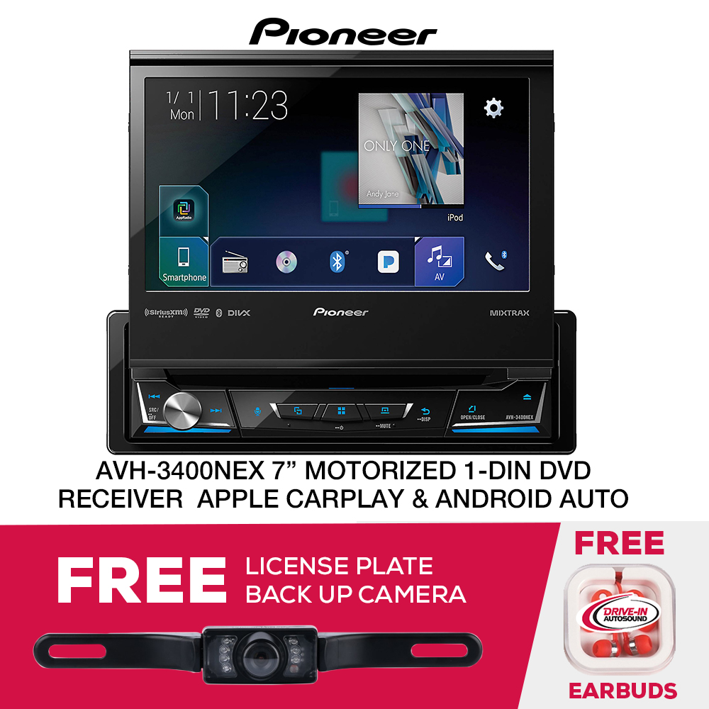 "Pioneer AVH-3400NEX 7"" Motorized Single DIN Multimedia DVD Receiver with Built-in Bluetooth and AppRadio Mode+ and Free License Plate Camera"