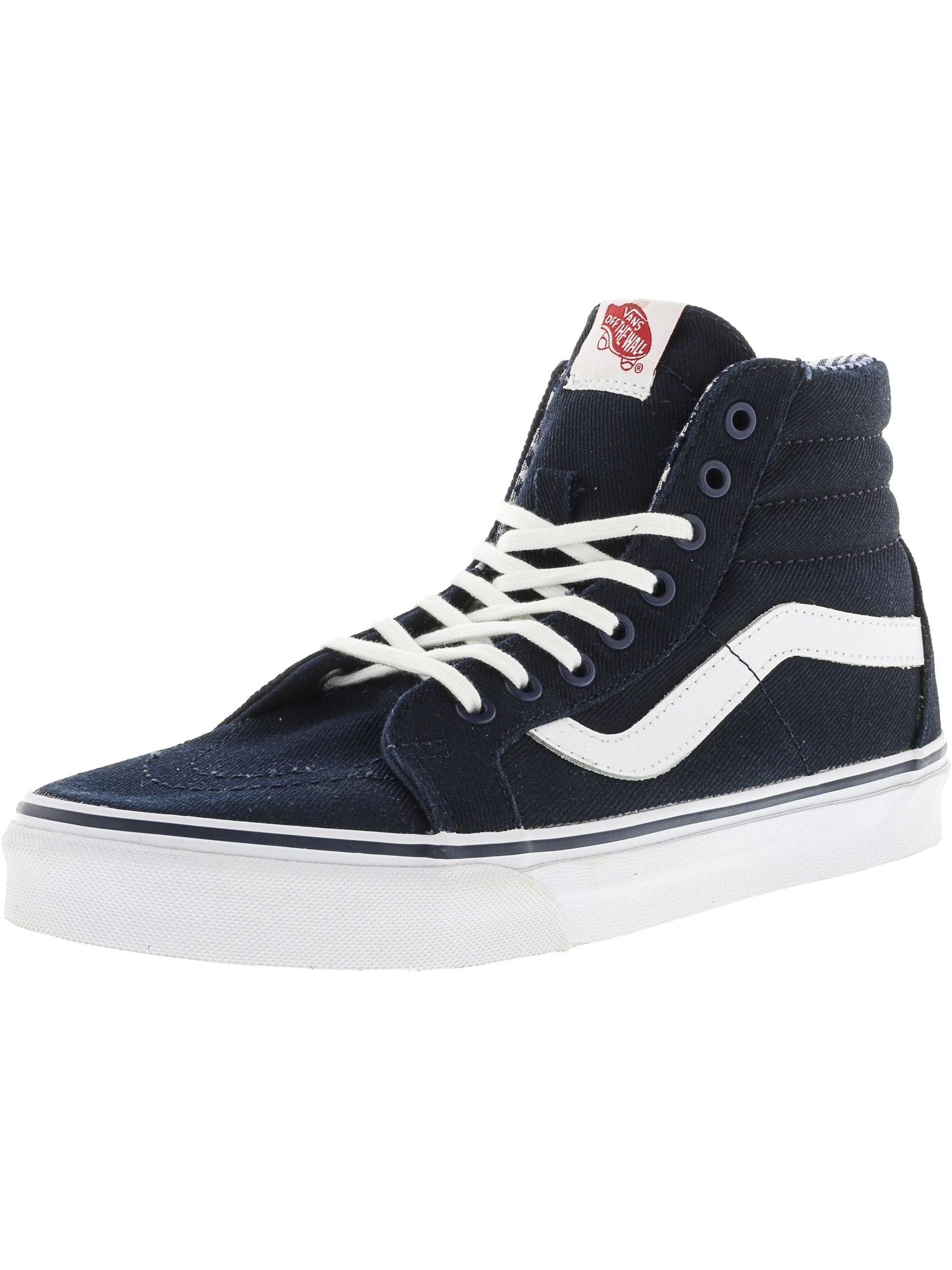 Vans Sk8-Hi Reissue Twill And Gingham Dress Blues / True White Ankle-High Canvas Skateboarding Shoe - 10.5M 9M