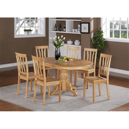 East West Furniture AVAT7-OAK-W 7PC Oval Dining Set with Single Pedestal with 18 in. butterfly leaf and 6 wood seat chairs ()
