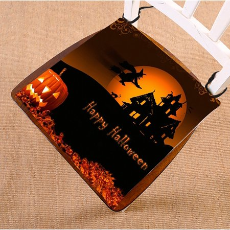 Whoopie Cushion Halloween (GCKG Halloween Pumpkin Chair Pad Seat Cushion Chair Cushion Floor Cushion with Breathable Memory Inner Cushion and Ties Two Sides Printing 16x16)