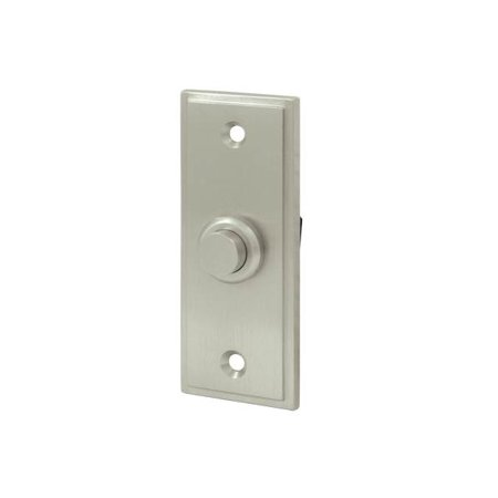 Solid Brass Rectangular Contemporary Bell Button (Polished Brass)