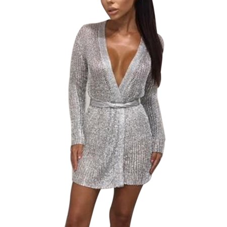 Women Cardigan Cocktail Party Evening Clubwear Sexy V-neck Knitwear Sweater Nightclub Dress