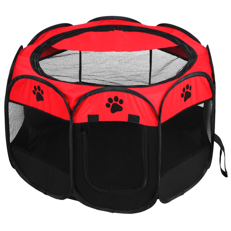 Pet Dog Playpens Indoor/Outdoor Portable Foldable Cage Soft Dog Exercise Pen Kennel for Dogs Puppy Cats Kittens Rabbits Hamsters(Red)