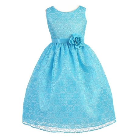 Little Girls Turquoise Floral Lace Flower Girl Dress 2-6 - Turquoise Lace