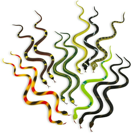 Halloween Candy Prank (Rubber Rainforest Snakes - 12 Pack -14 Inches - Snake Toys For Children, Gag toys, Prank, Prop, Gardens, Party Favors, Halloween & Decorations -)