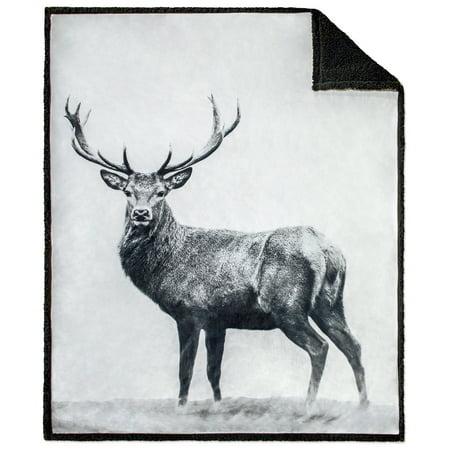"""Safdie & Co. Throw Blanket Print Faux Fur 50"""" x 60"""" Nordic Deer Ultra Soft"""
