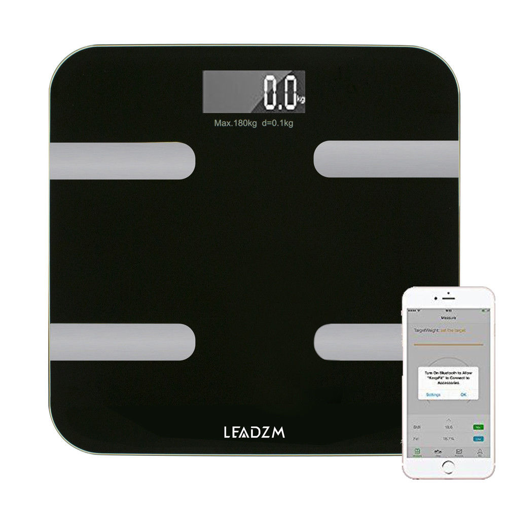 Zimtown Bluetooth Smart Body Fat Scale Monitor Total Water Muscle and Bone With APP