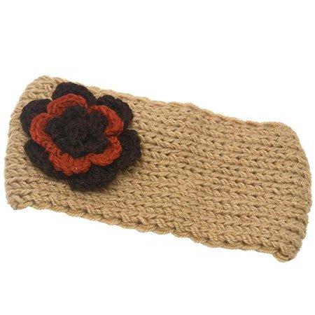Girls Beige Two Tone Flower Embellished Ear Warmer Knitted Headband