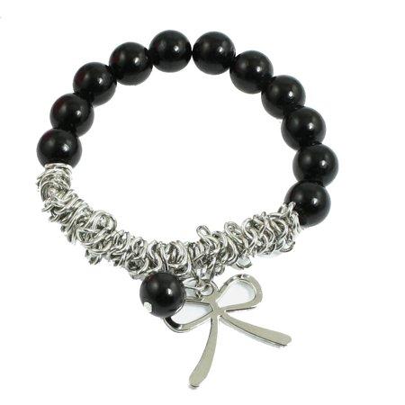 Unique Bargains Unique Bargains Silver Tone Metal Chain Bow Knot Black Plastic Beads Elastic Wristlet Bracelet