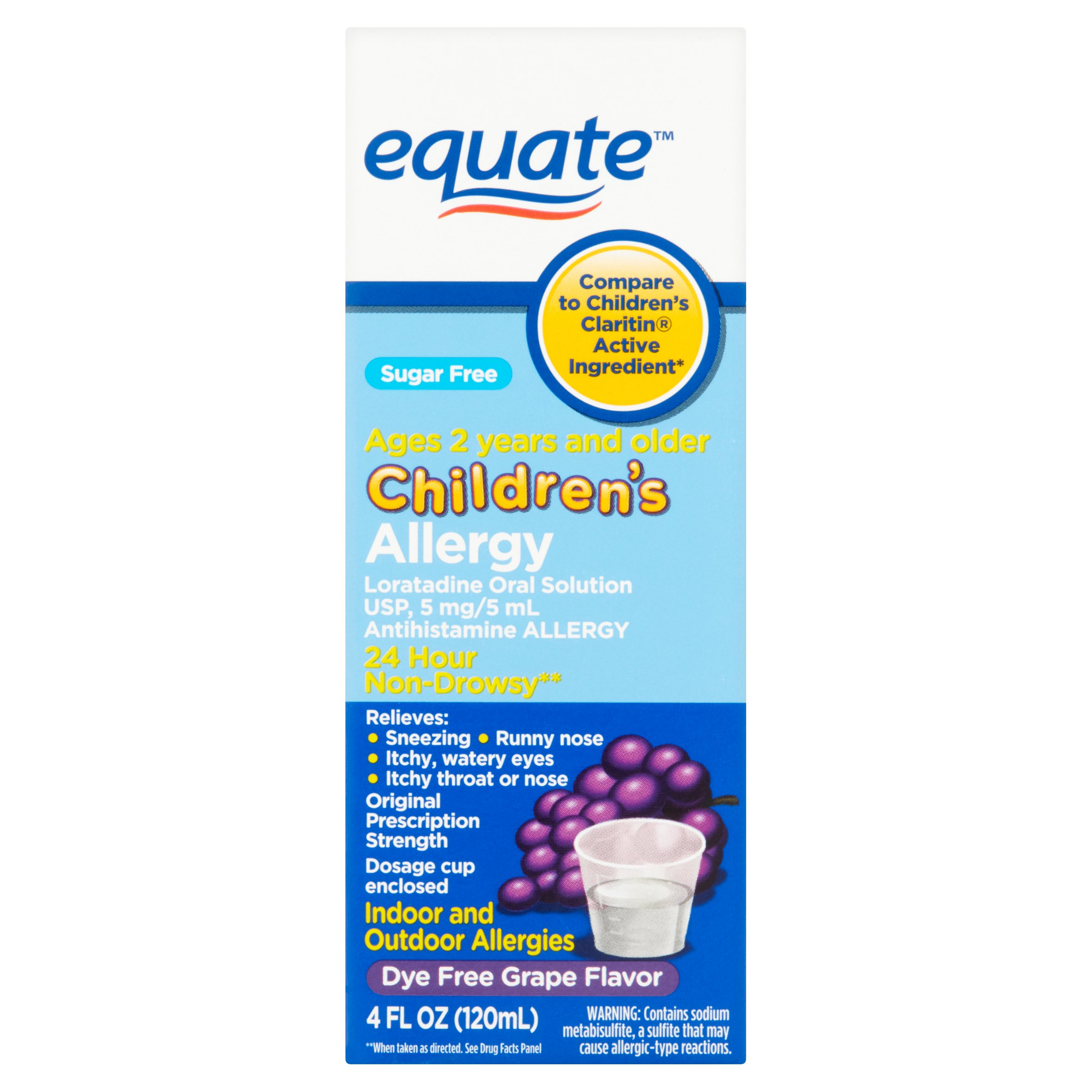 Equate Sugar Free Children's Allergy Relief Loratadine Dye-Free Grape Suspension, 4 Oz
