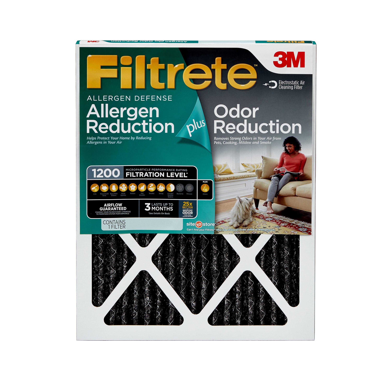 filtrete allergen plus odor reduction hvac furnace air filter, 1200 ...