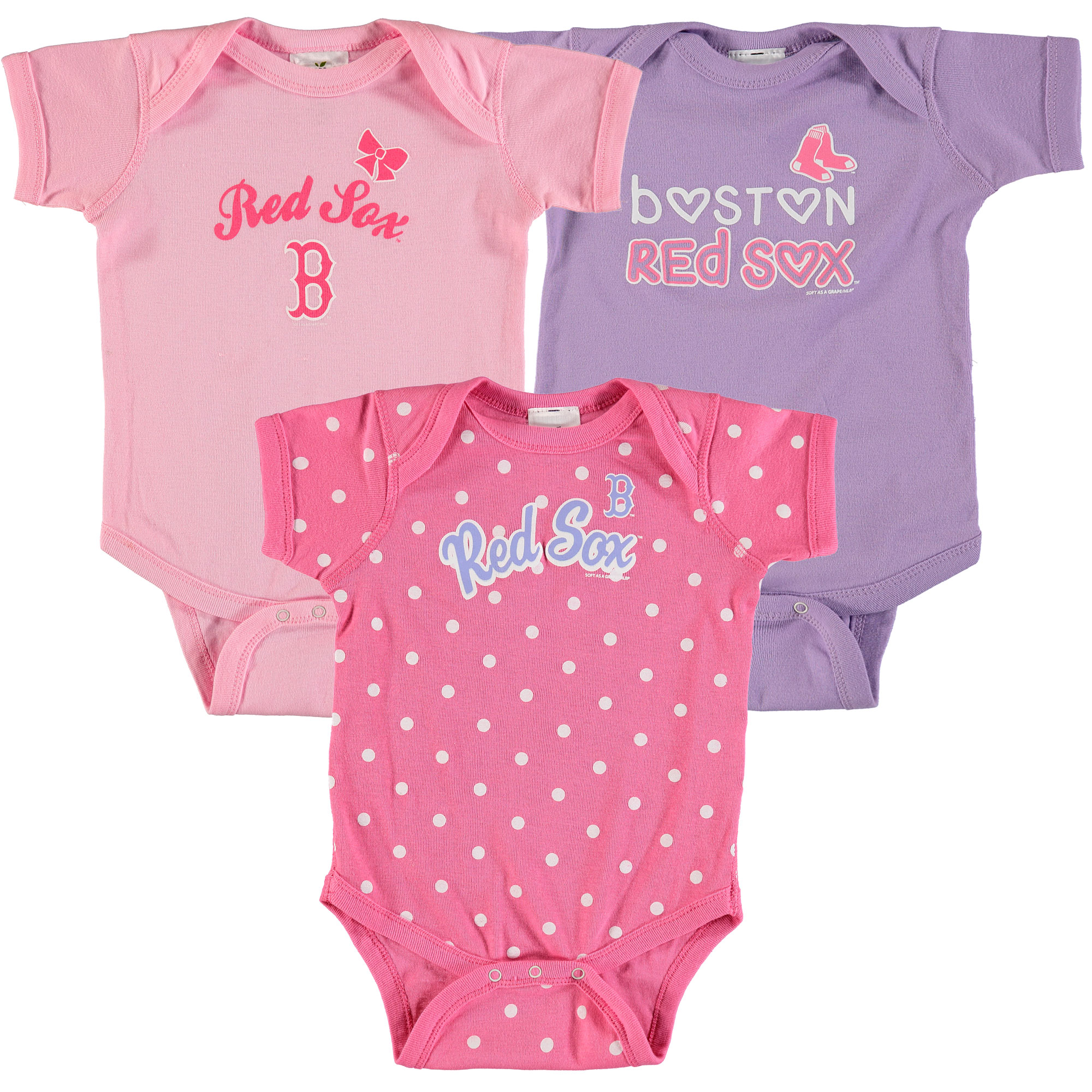 Boston Red Sox Soft as a Grape Girls Infant 3-Pack Rookie Bodysuit Set - Pink/Purple