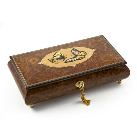 Handcrafted Wood Tone Twin Butterfly Inlay Music Jewelry Box - Are You Lonesome Tonight - SWISS