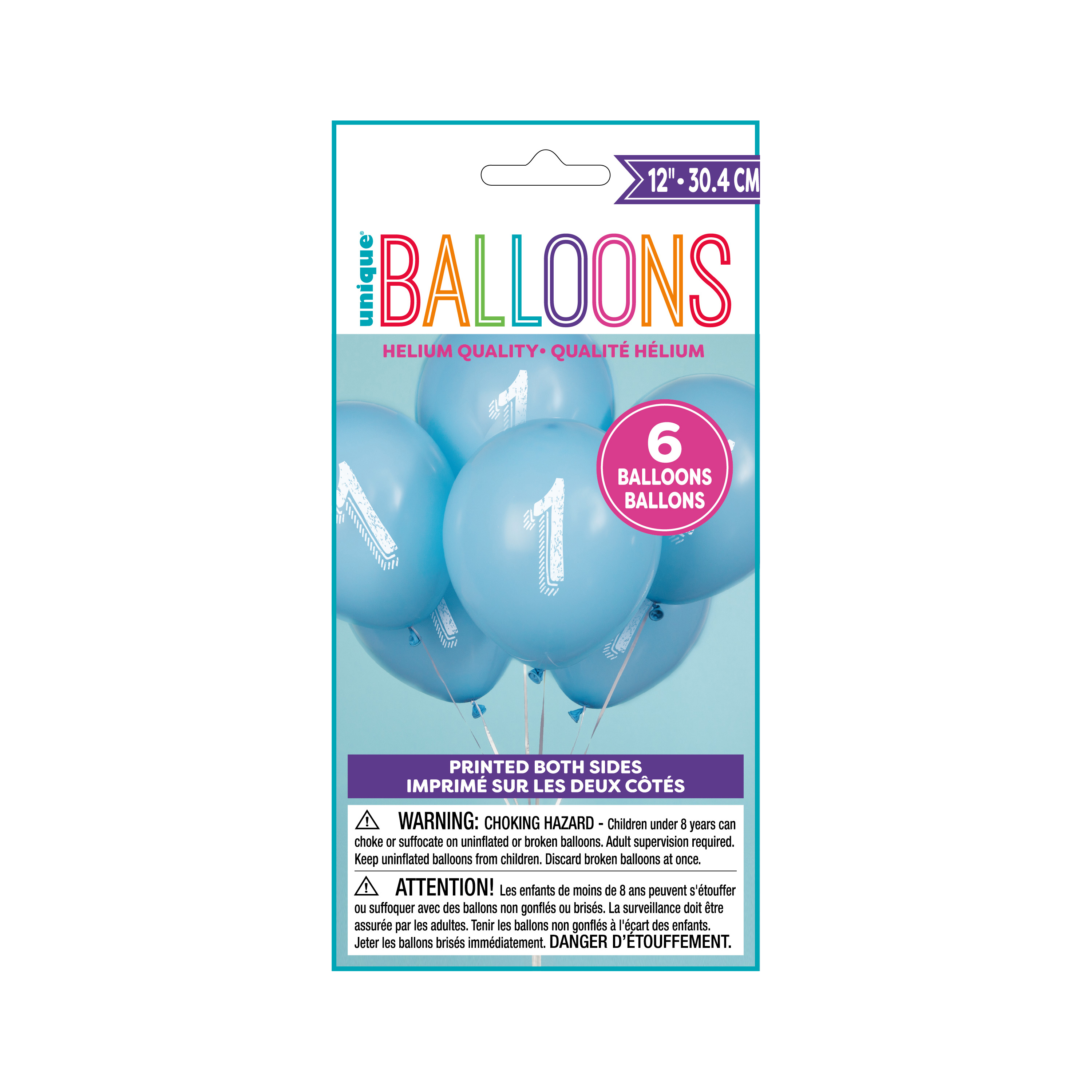 Latex Chalk Design Number 1 Balloons, Blue, 12 in, 6ct