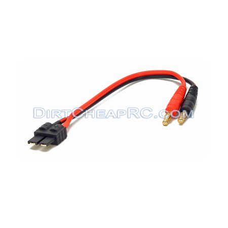 Battery Charger Lead/Cable - 4mm Banana/Bullet to Traxxas Male Plug Connector (9 16 Bullet Plugs)