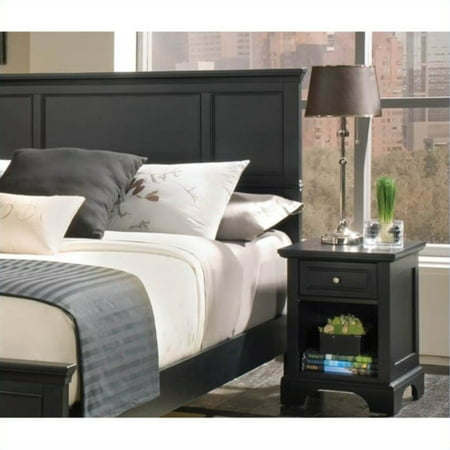 Home Styles Bedford Queen Wood Panel Headboard & Nightstand Set in Ebony