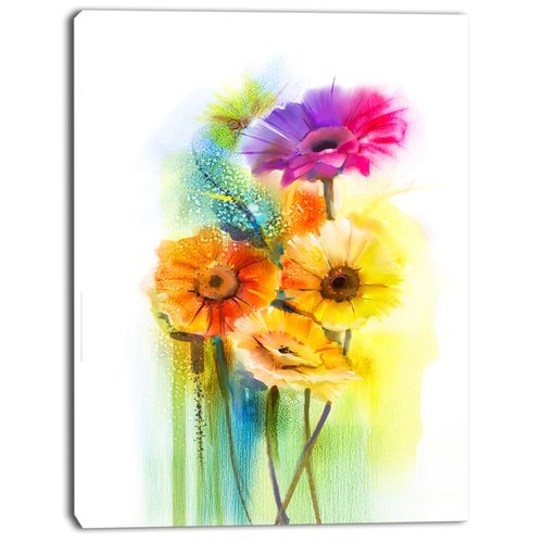 Design Art 'Yellow Orange Purple Gerbera Flowers' Painting Print on Wrapped Canvas