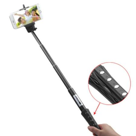 insten black selfie stick with built in bluetooth wireless remote shutter a. Black Bedroom Furniture Sets. Home Design Ideas