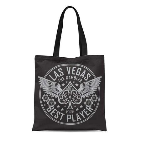 SIDONKU Canvas Tote Bag Spade Las Vegas Player Poker Tee Graphics Ace Vintage Reusable Shoulder Grocery Shopping Bags Handbag