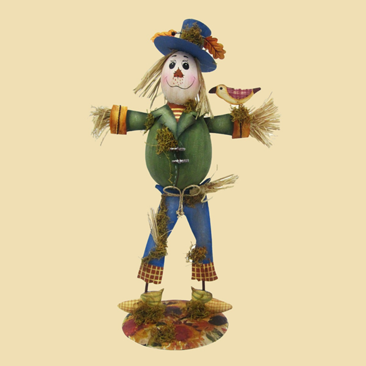 Tin and Straw Scarecrow with Bird Halloween Table Top Decoration 16""