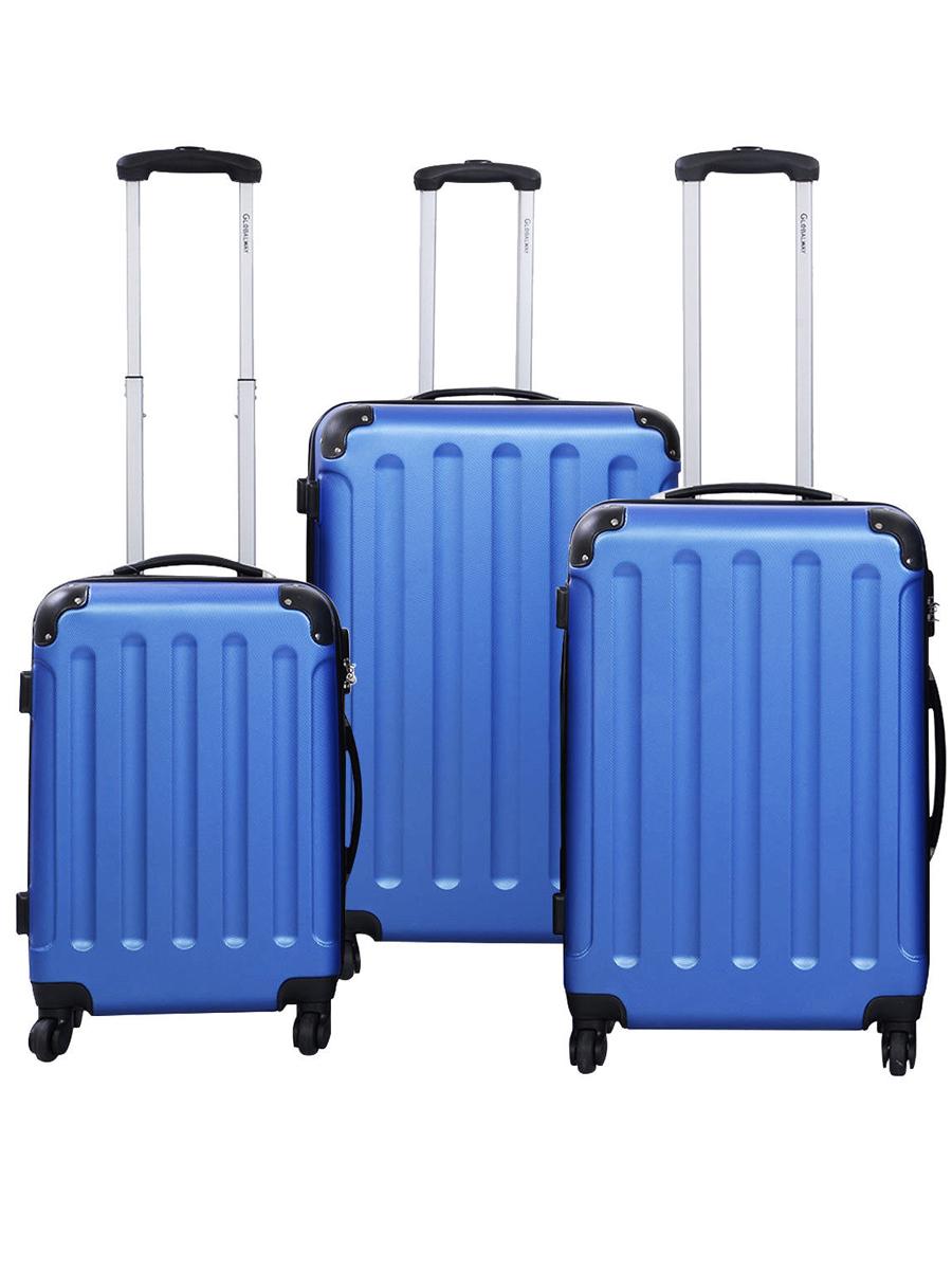 GLOBALWAY 3 Pcs Luggage Travel Set Bag ABS Trolley Suitcase Blue