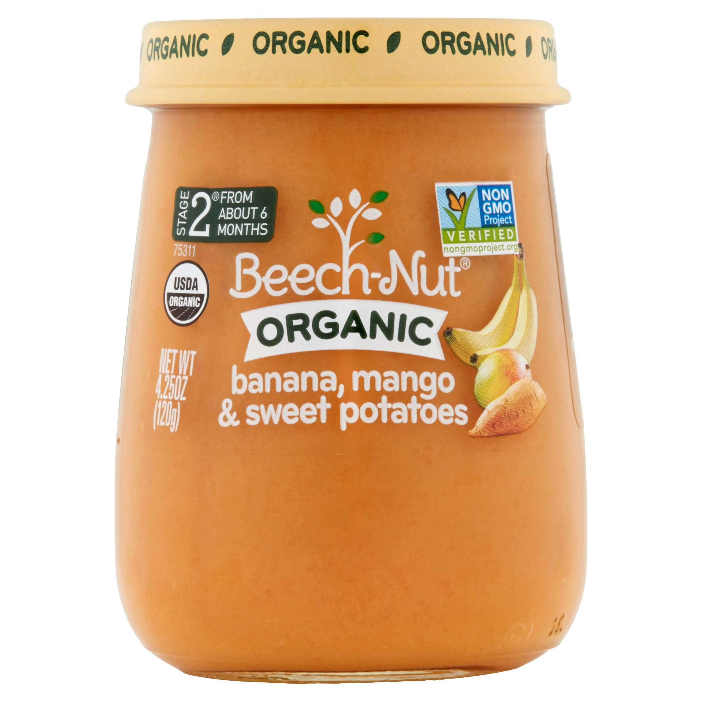 Beech-Nut Organic Stage 2 Banana, Mango & Sweet Potatoes,4.25oz, (Pack of 10)